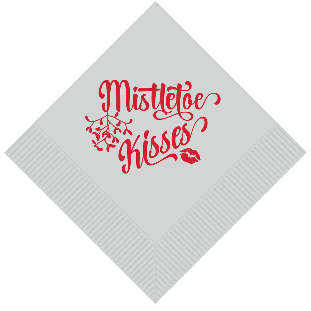 'Mistletoe Kisses' Christmas Beverage Cocktail Napkins