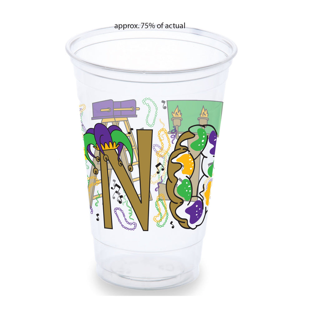 """NOLA Mardi Gras!"" 20oz Clear Disposable Cups (50/pk)"