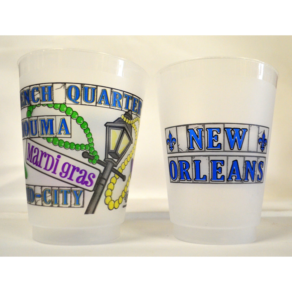 Mardi Gras Street Tile Frost Flex Cups - Party Cup Express