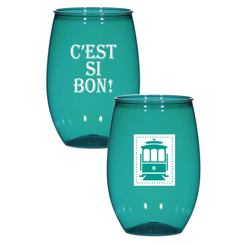 "NOLA Icons ""C'est Si Bon!"" 16oz Stemless Wine Cups (6/pk)"