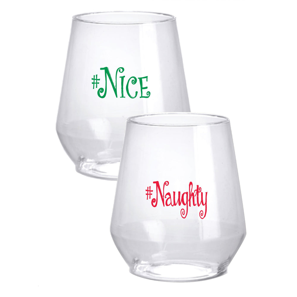 Naughty & Nice Stemless Wine Glasses - Party Cup Express