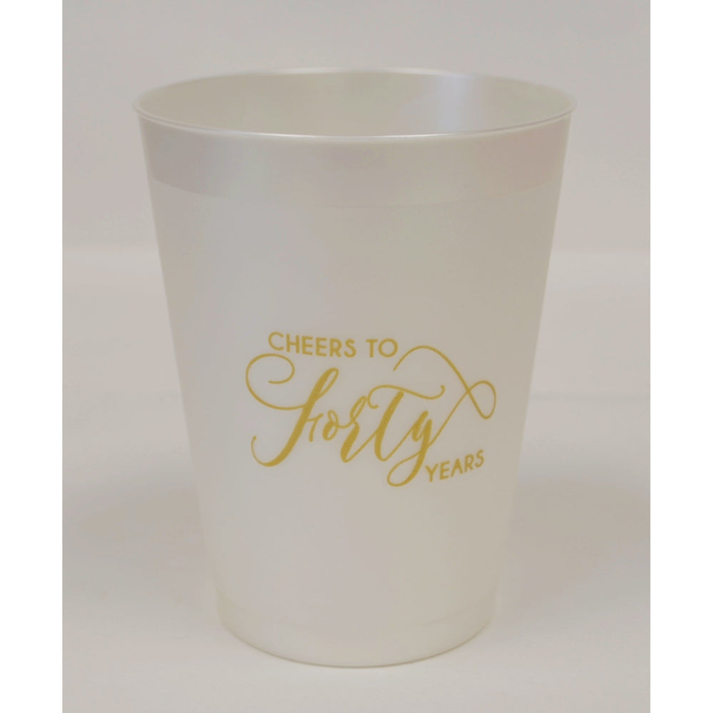 """Cheers To Forty Years"" Frost Flex Cups - Party Cup Express"