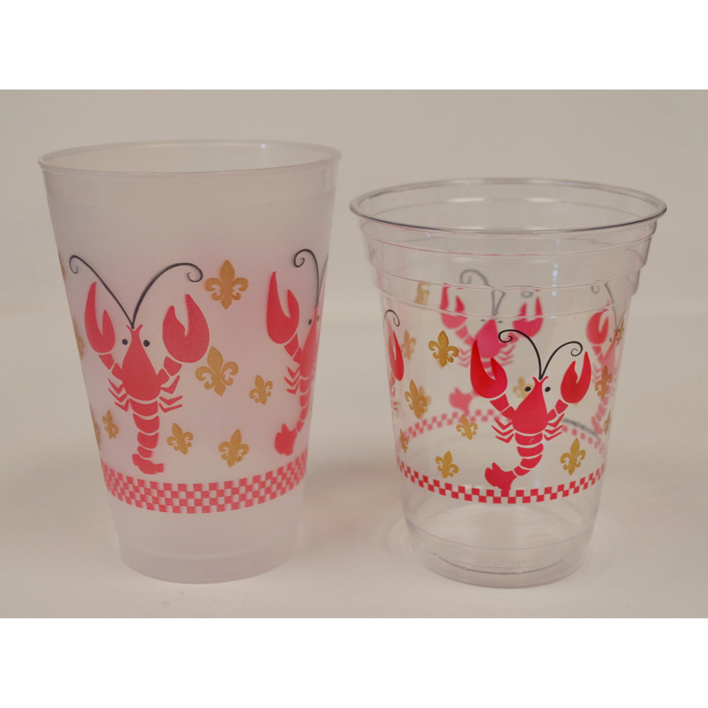 Crawfish & Fleur de Lis Disposable Cups 16oz (50/pk) - Party Cup Express
