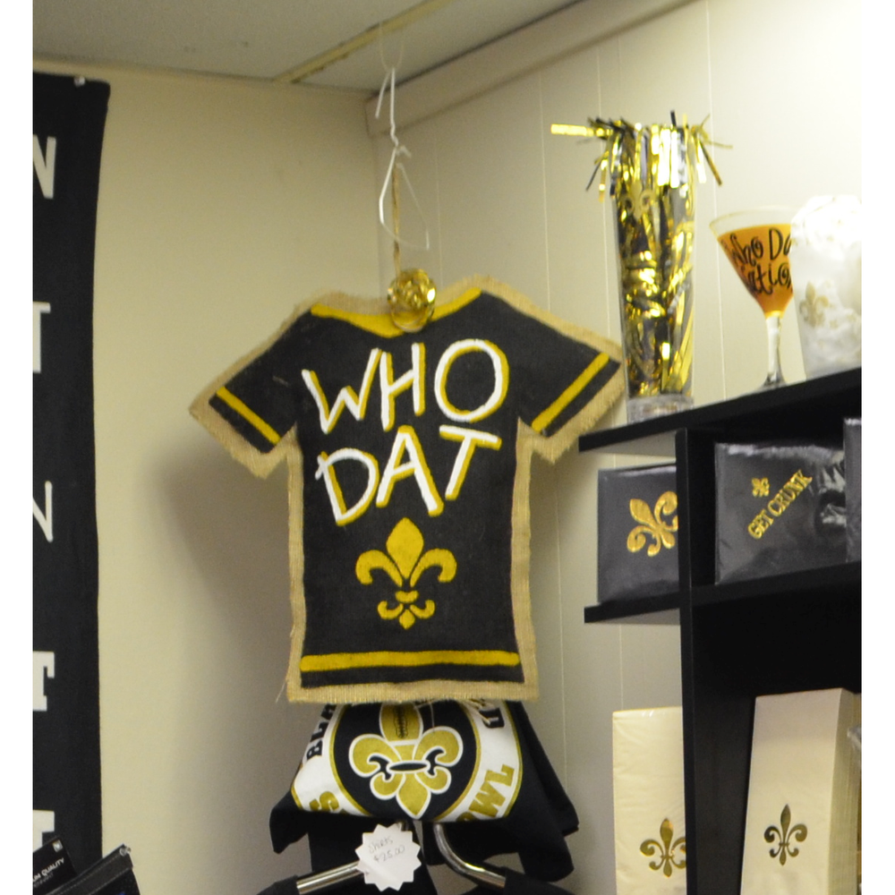 """Who Dat"" Saints Burlap Door Hanger"