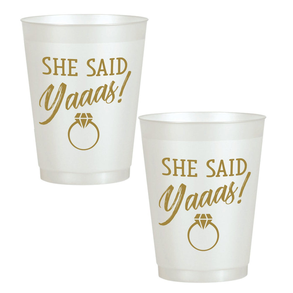 'She Said Yaaas!' 16oz Pearl White Frost Flex Cups (25/pk)