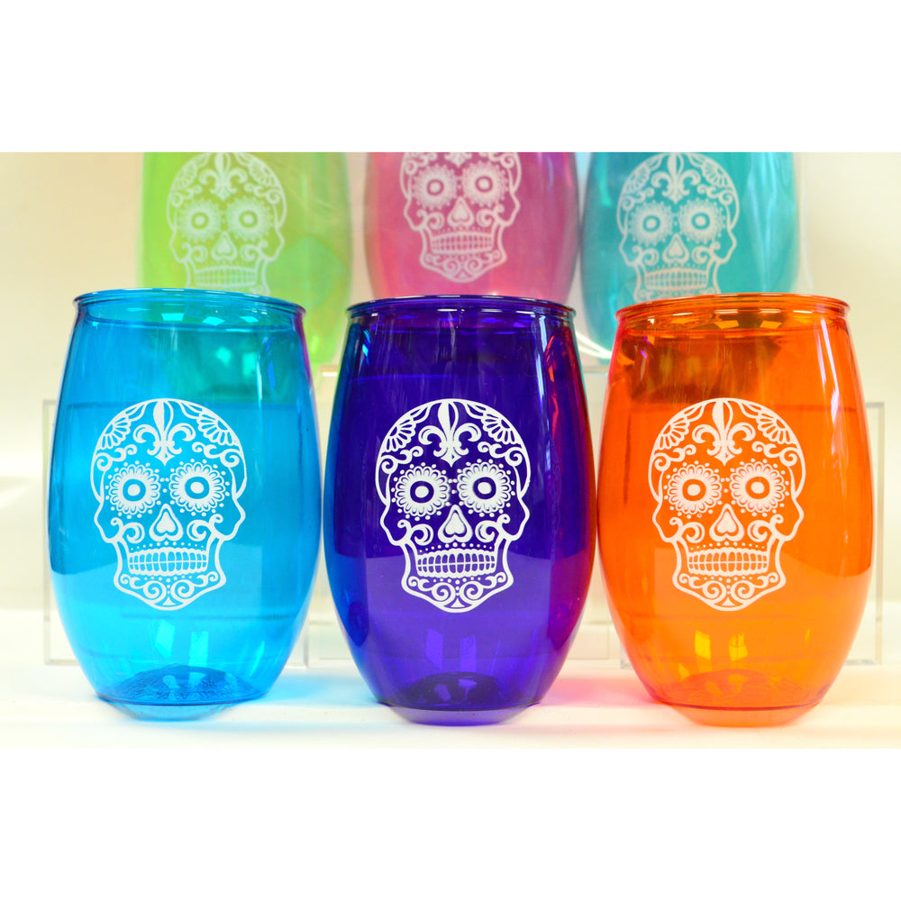 Colorful Sugar Skull Cups (6/pk) - Party Cup Express
