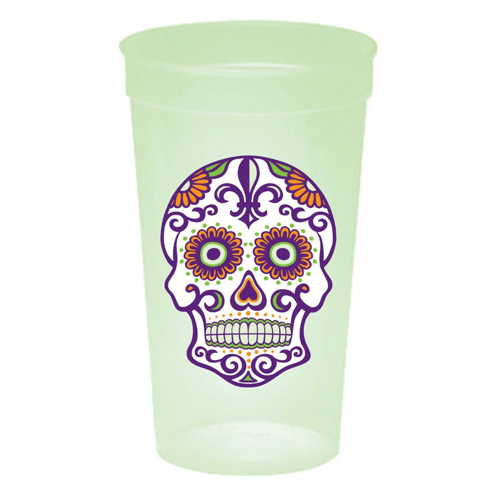 Day Of The Dead {Sugar Skull} Glow-In-The-Dark Cups (pk/20)