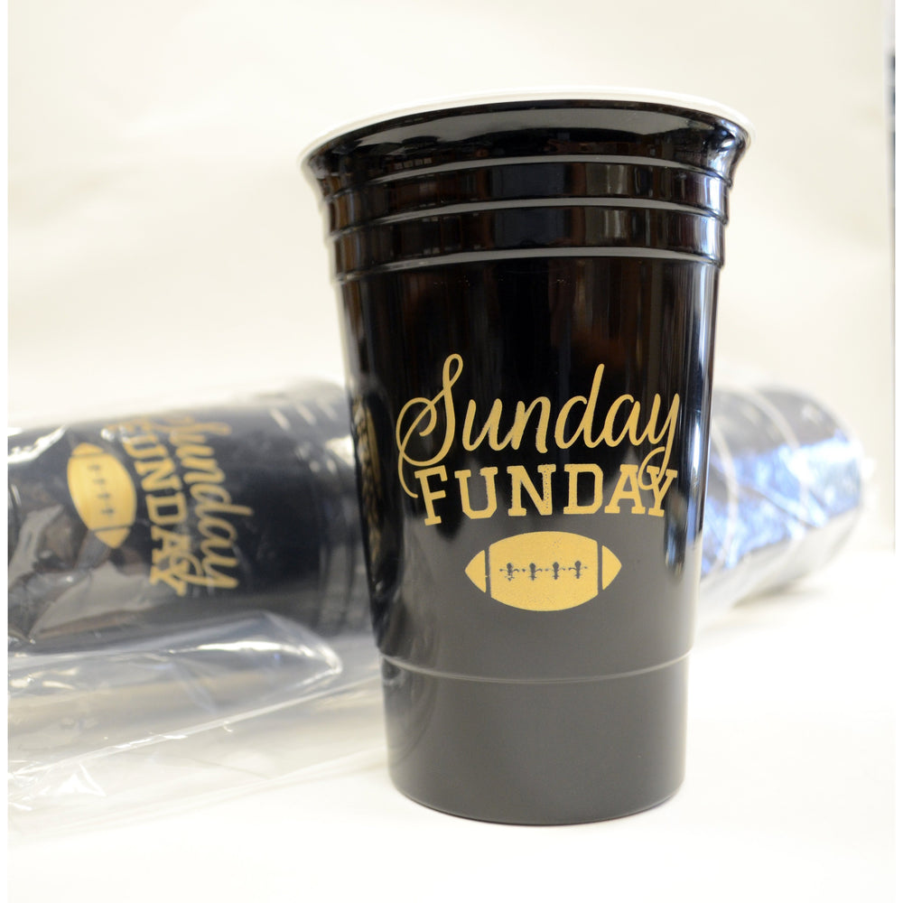 """Sunday Funday"" Black & Gold 16oz Insulated Party Cup (6/pk)"