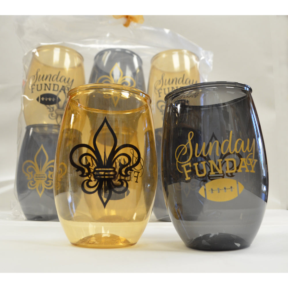 """Sunday Funday"" Black & Gold 16oz Stemless Wine (6/pk)"