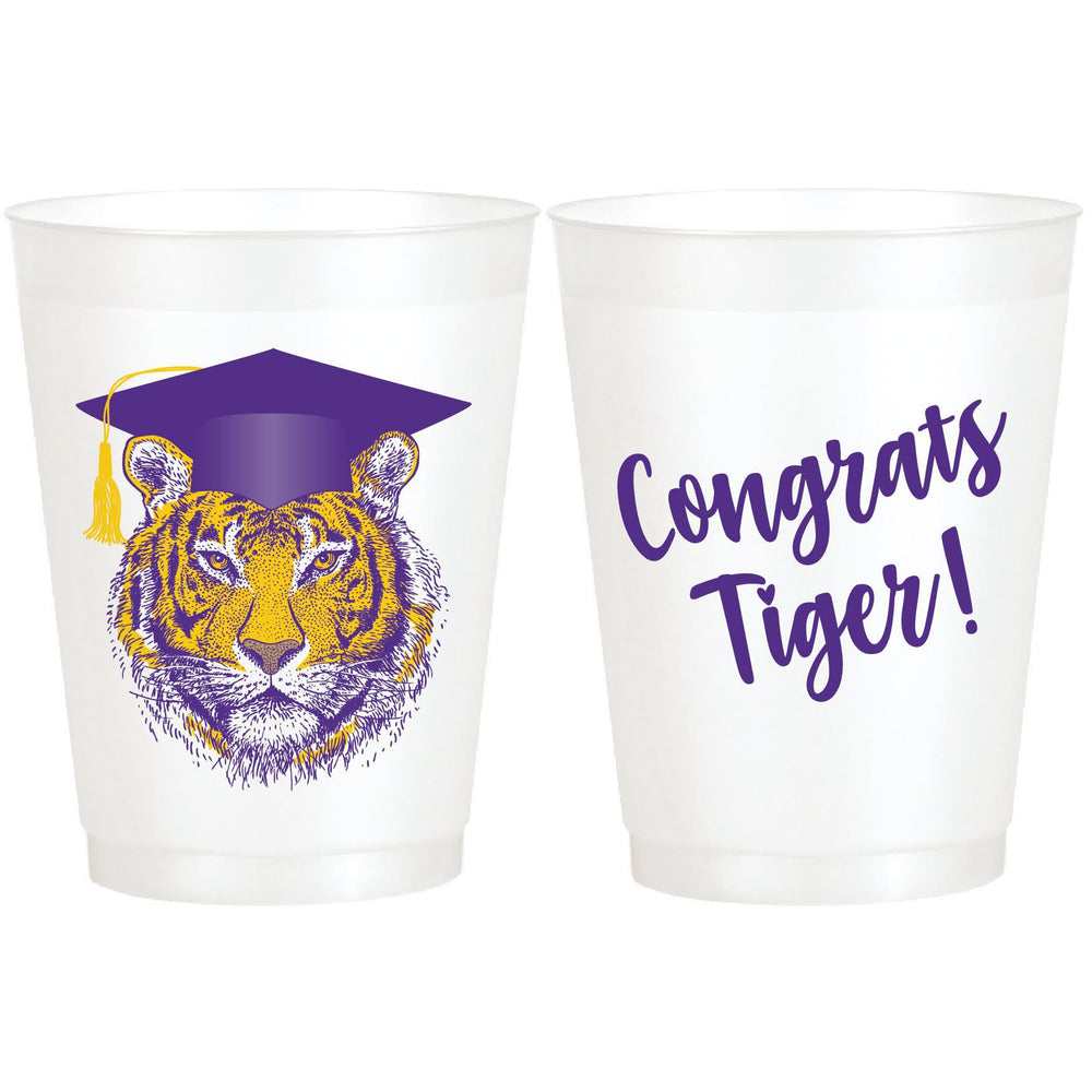 Tiger Graduation/Congrats Tiger! 16oz. pearl Frost Flex Cups (pk/25)