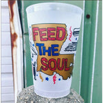 "Red Blue & Gold ""Feed the Soul"" 20oz Frosted Cups (pk/25)"