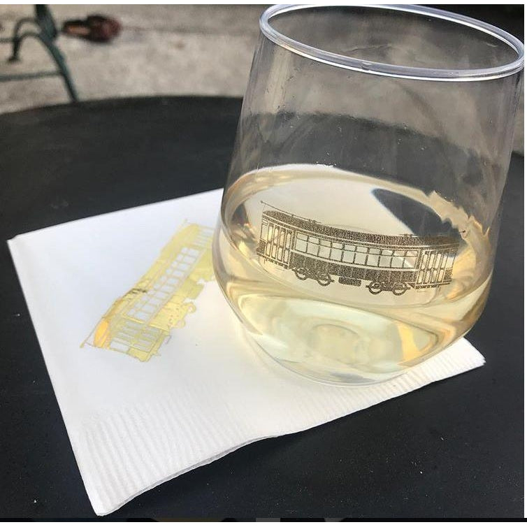 Gold Streetcar Stemless Wine Glasses (pk/6)