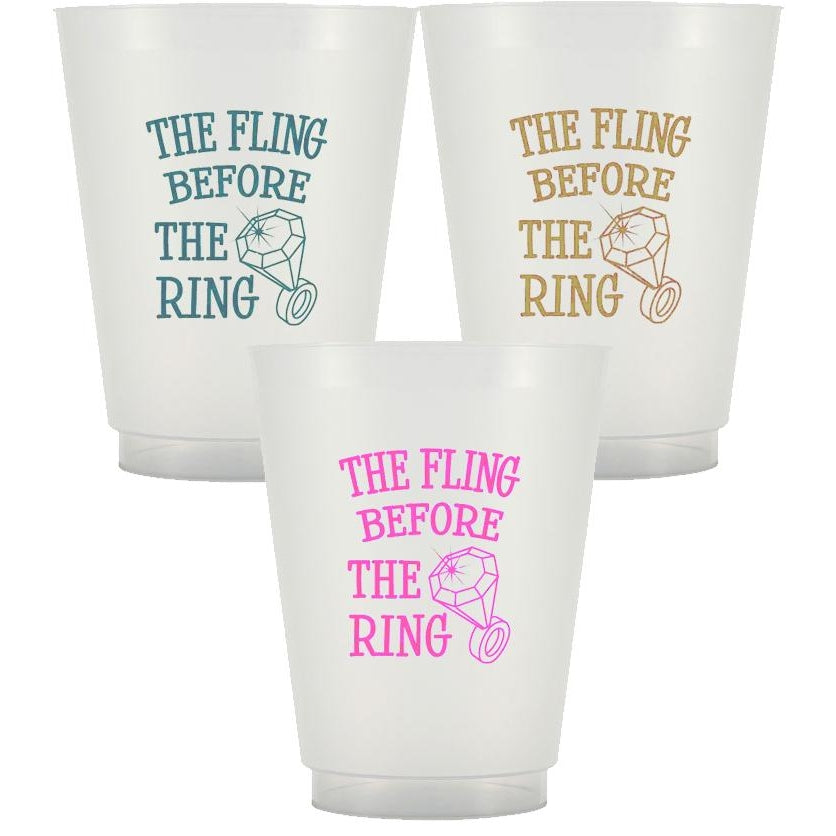 """Fling Before The Ring"" Frost Flex Cups (pk/25) - Party Cup Express"