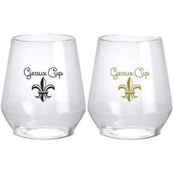 Black & Gold Fleur de Lis Geaux Cup Stemless Wine Glasses