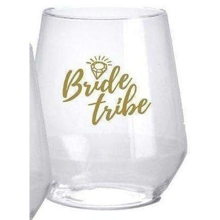 """Bride Tribe"" Stemless Wine Glasses - Party Cup Express"