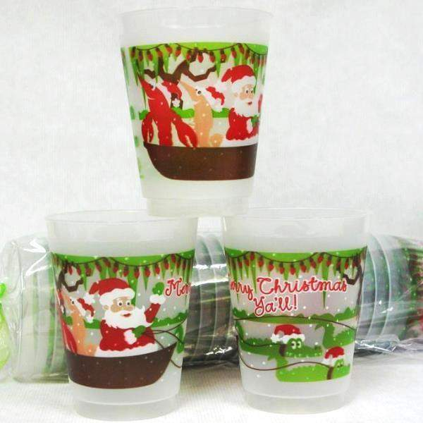 Cajun Christmas Pirogue Frost Flex Cups - Party Cup Express