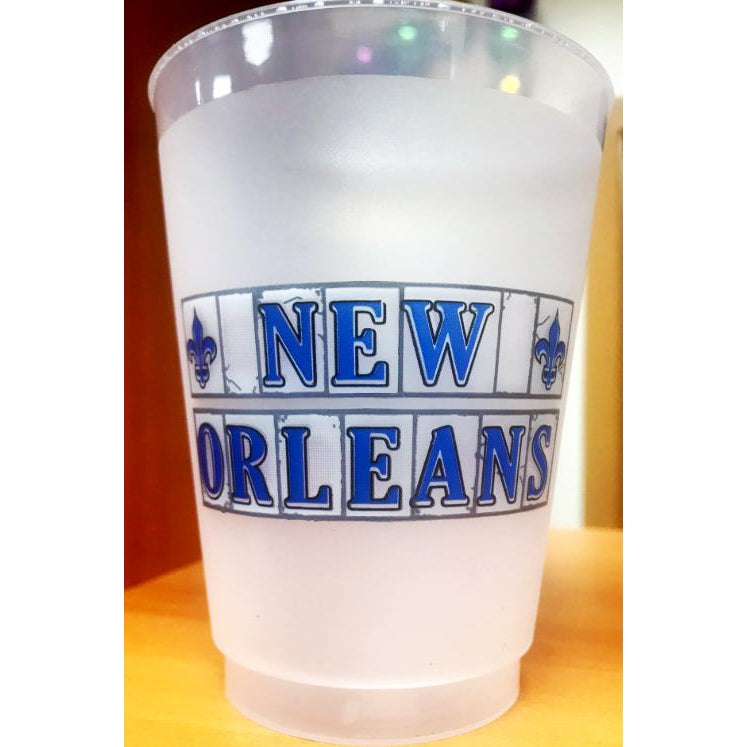 New Orleans Street Tiles Frost Flex Cups (pk/25) - Party Cup Express