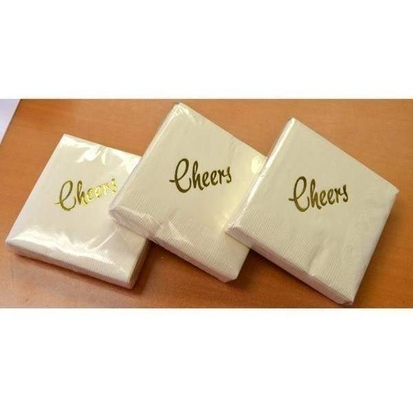 """Cheers"" Beverage Napkins (Ivory w/Metallic Gold or Silver)"