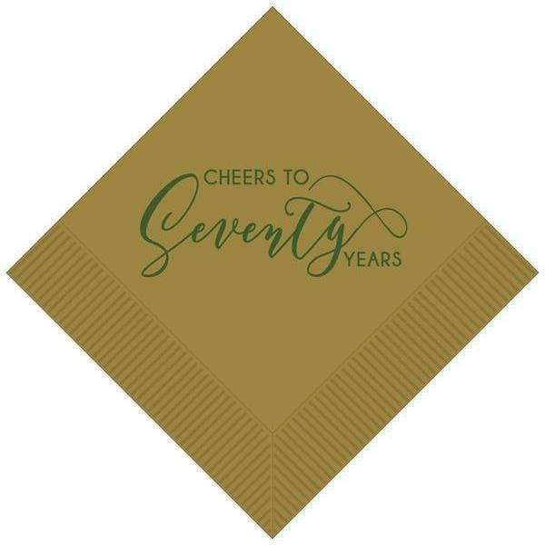 """Cheers To Seventy Years"" Beverage Napkins - Party Cup Express"