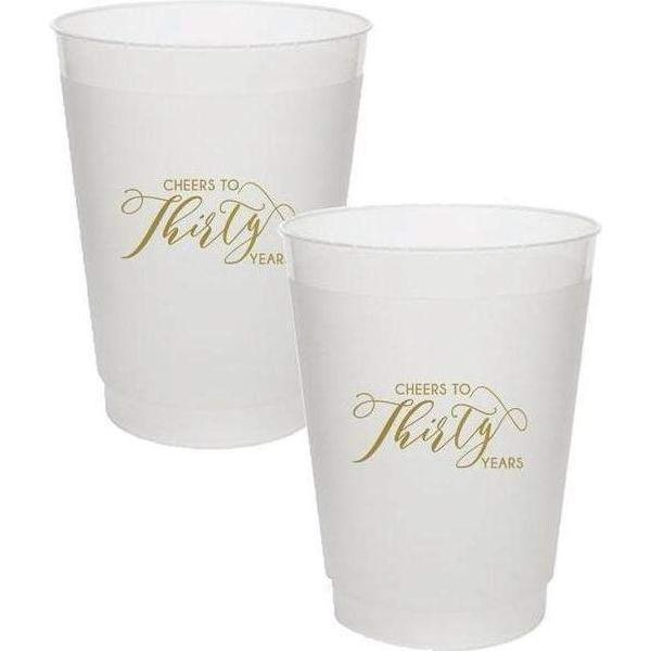 """Cheers To Thirty Years"" Frost Flex Cups - Party Cup Express"
