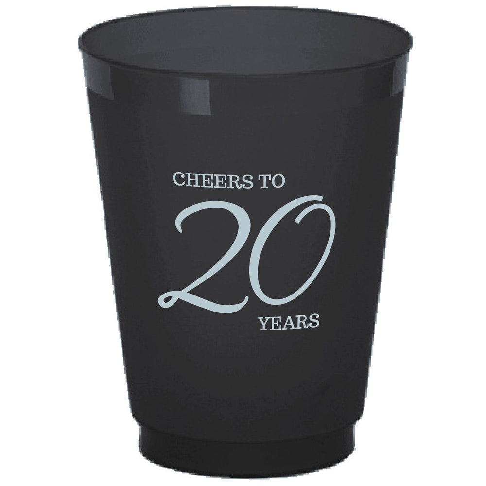 """Cheers to 20 Years"" Frost Flex Cups (25/pk)"