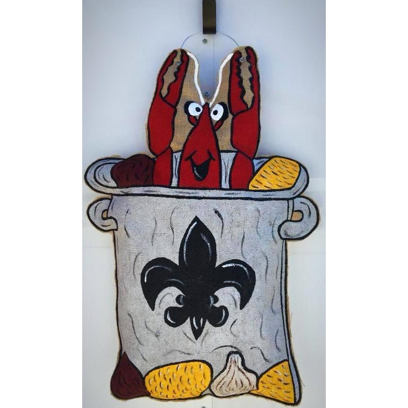 Crawfish Burlap Door Hanger