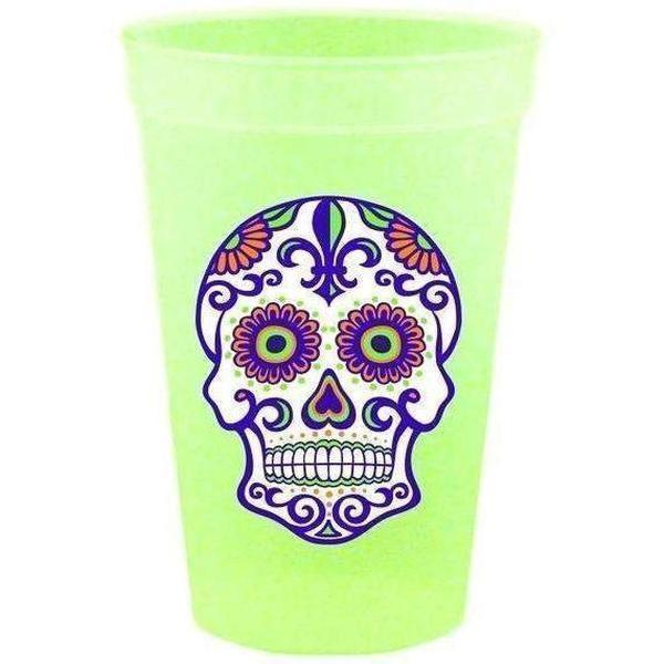 Day Of The Dead {Sugar Skull} Glow-In-The-Dark Cups (pk/25) - Party Cup Express