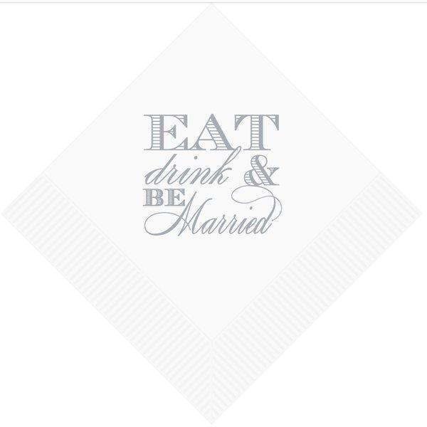 Eat Drink & Be Married Beverage Napkins (25/pk) - Party Cup Express