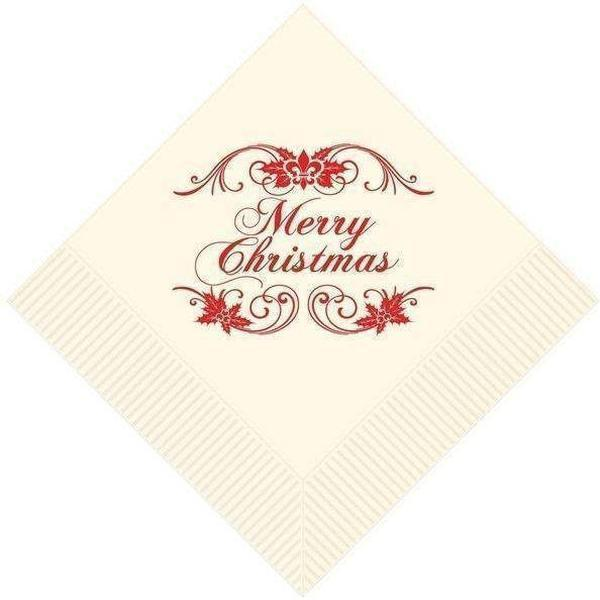 Elegant 'Merry Christmas' Beverage Napkins (Pack/25)