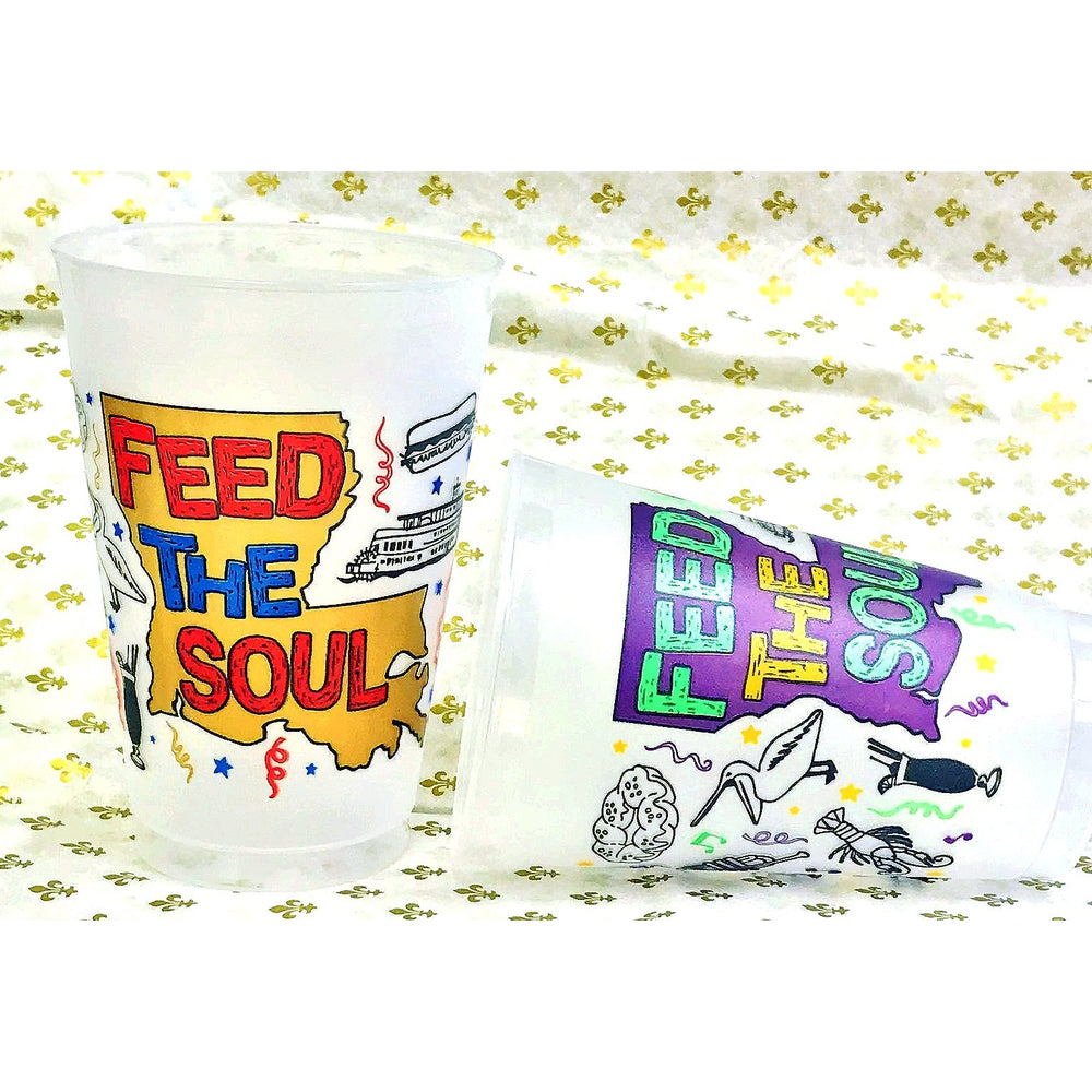 "Red Blue & Gold ""Feed the Soul"" 20oz Frosted Cups (pk/25) - Party Cup Express"