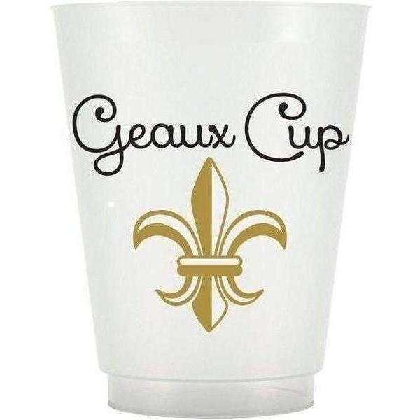 "Fleur De Lis ""Geaux Cup"" Frost Flex Cups - Party Cup Express"