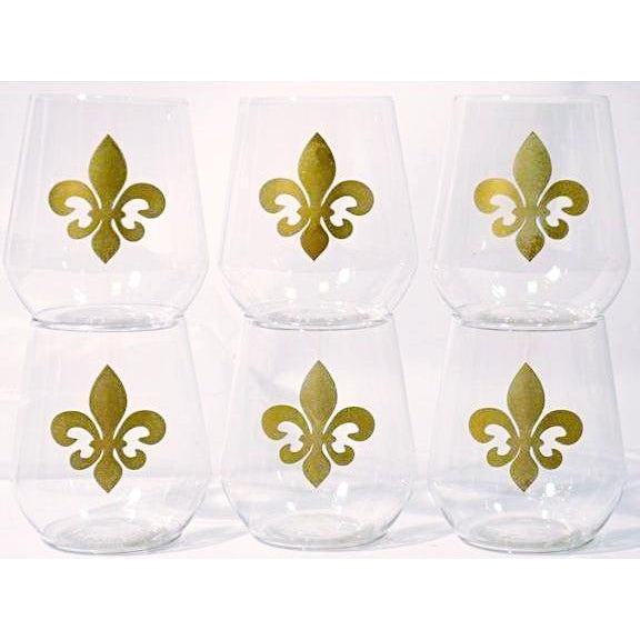 Fleur de Lis Stemless Wine Glasses - Party Cup Express