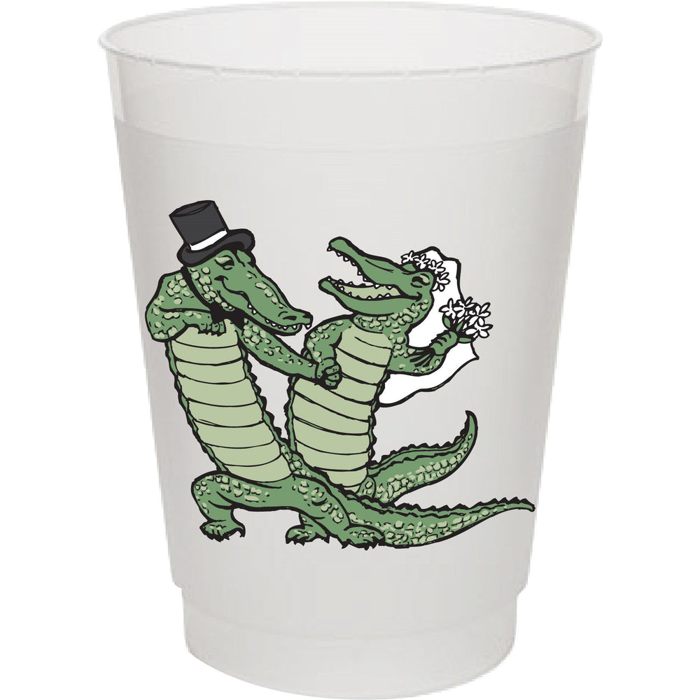 Alligator Wedding 16oz frost flex cups (pk of 25) *Customizable