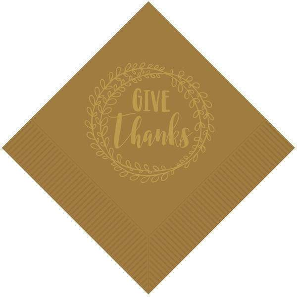"""Give Thanks"" Beverage Napkins - Party Cup Express"
