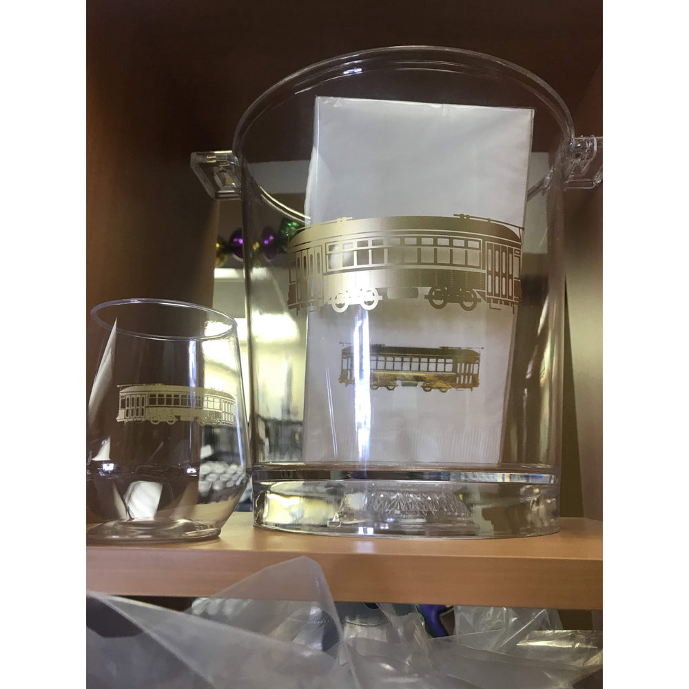 Gold Streetcar Stemless Wine Glasses (pk/6) - Party Cup Express