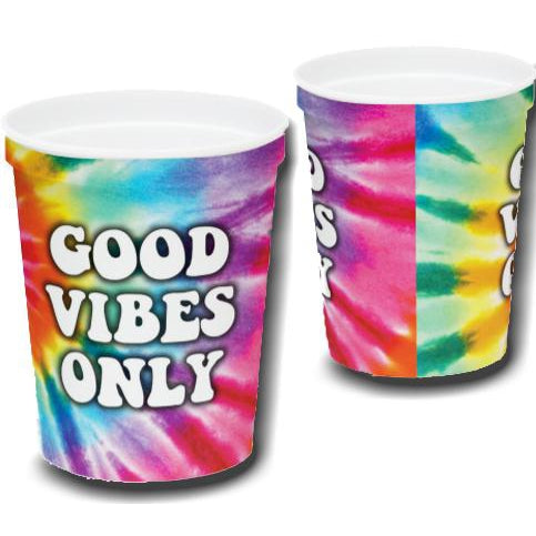 """Good Vibes"" Tie Dye Souvenir Cups (pk/20) - Party Cup Express"