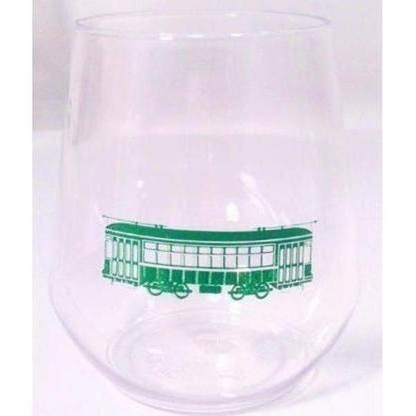 Green Streetcar Stemless Wine Glasses