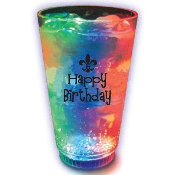 Happy Birthday Fleur de Lis Light Up Tumbler - Party Cup Express