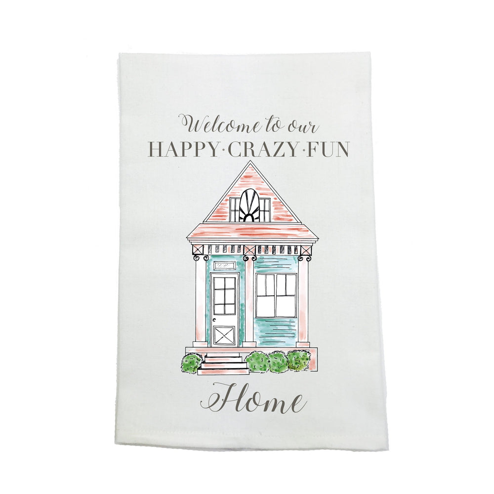 """Happy Crazy Fun Home"" Kitchen Towel"