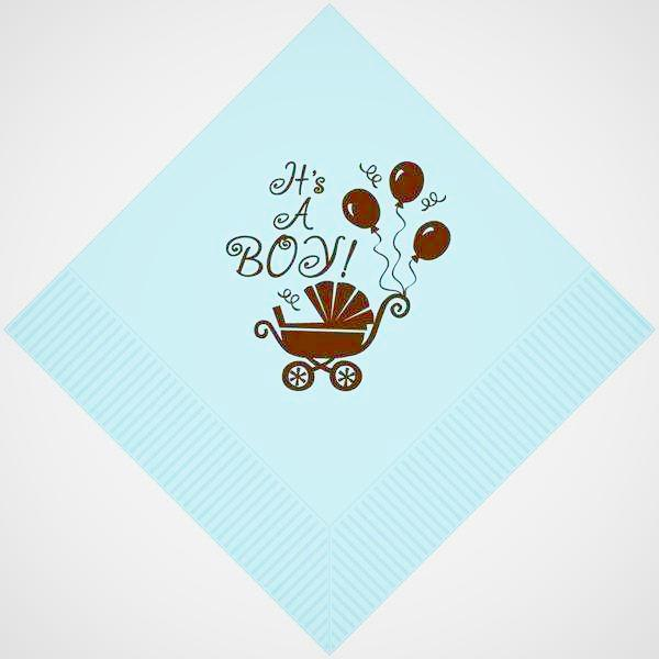 """It's A Boy"" Stroller 3-ply Beverage Napkins (pk/25) - Party Cup Express"