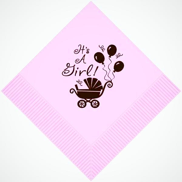 """It'S A Girl"" Beverage Napkins - Party Cup Express"