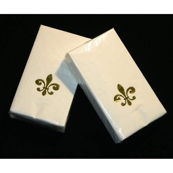 Gold Fleur De Lis on Ivory Guest Towels - Party Cup Express