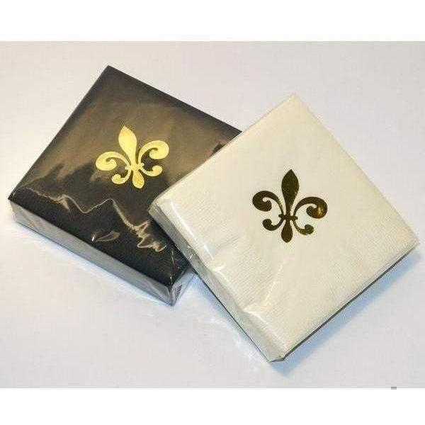 Gold Fleur De Lis on Ivory & Black Beverage Napkins - Party Cup Express