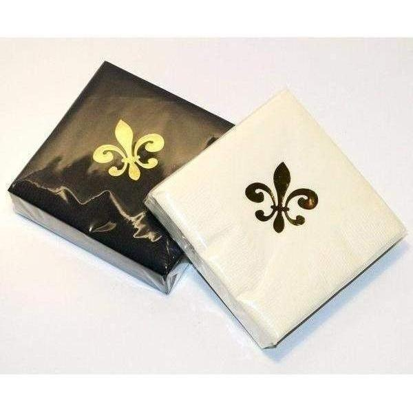 Gold Fleur De Lis on Ivory & Black Beverage Napkins