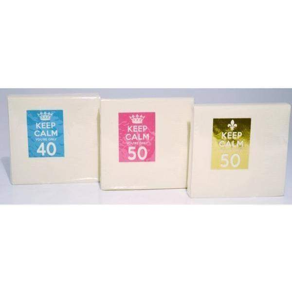 """Keep Calm You're Only 40"" Beverage Napkins (pk/25) - Party Cup Express"