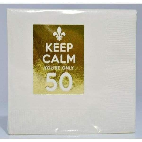 """Keep Calm You're Only 50"" Beverage Napkins (pk/25) - Party Cup Express"