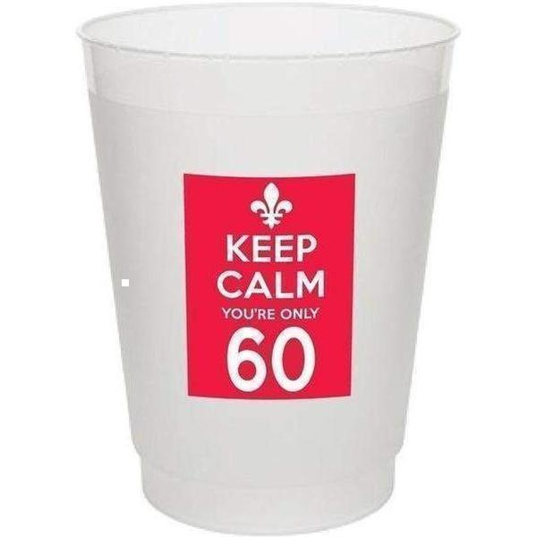 Keep Calm You're Only 60 Frost Flex Cups (pk/25) - Party Cup Express