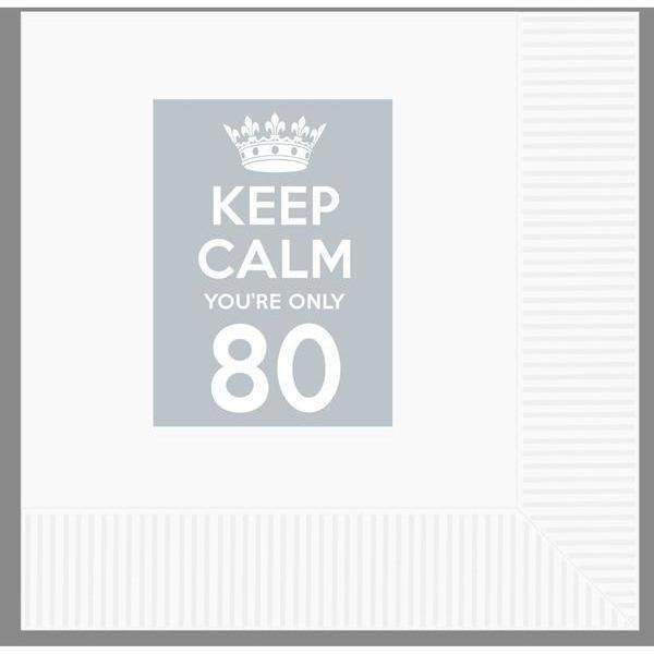 Keep Calm You'Re Only 80 Beverage Napkins (pk/25) - Party Cup Express