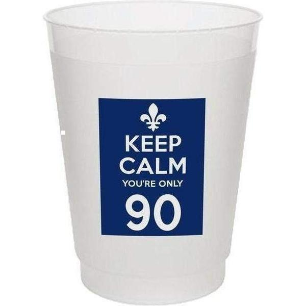 Keep Calm You're Only 90 Frost Flex Cups (pk/25) - Party Cup Express