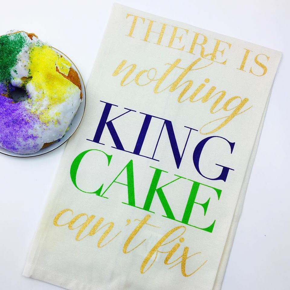 """Nothing King Cake Can't Fix"" Kitchen Towel"